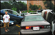 Tornado-stacked cars in Maryland